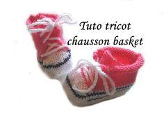 Les tutos de Fadinou: TUTO TRICOT CHAUSSON BASKET POUR BEBE AU TRICOT
