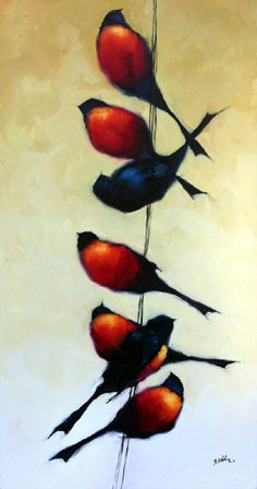 "By Artist Harold Braul  Bird Series - Ds | CH# H2766(Sold)  48""h x 24""w - Oil on Canvas at  Crescent Hill Gallery♥♥"