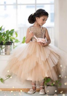 4b6285694b Sequin Top Rose gold Flower Girl Dress