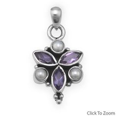 Cultured Pearl and Amethyst Pendant