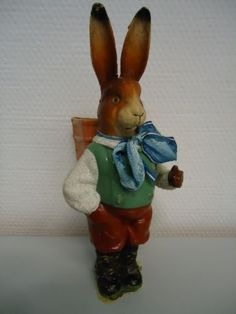 ANTIQUE-EASTER-GERMAN-CANDY-CONTAINER-PAPER-MACHE-RABBIT-BUNNY-BELSNICKLE