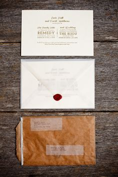 Gold Steam Punk Letterpress Wedding Invitations - love what they did w/ the envelopes