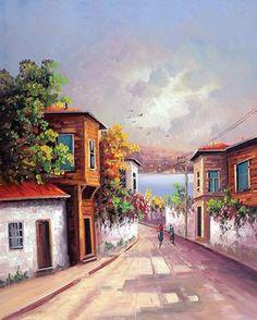 YAĞLI BOYA İSTANBUL MANZARA ybist032 Watercolor Landscape, Watercolor Artwork, Landscape Art, Landscape Paintings, Building Painting, House Painting, Pintura Colonial, Istanbul, Turkish Art