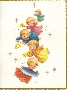 Vintage Christmas Card Angels Orchestra Flying by antiquewhisperer
