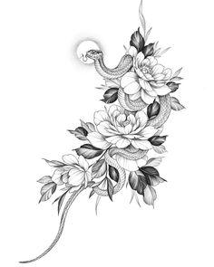 Skull Tattoos, Love Tattoos, Body Art Tattoos, Hand Tattoos, Tattoos For Guys, Japanese Snake Tattoo, Japanese Sleeve Tattoos, Full Sleeve Tattoos, Snake And Flowers Tattoo