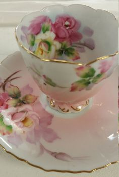 Vintage Beautiful pink rose tea cup and saucer made in by TGROUP3