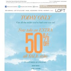 LOFT - Today Only! Take An Extra 50% Off Sale Styles