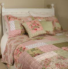 shabby chic bedding | Shabby Vintage Chic Roses Quilt Set