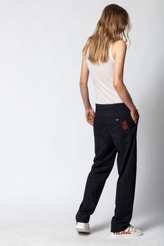 Pantalon Peter Carreaux, encre, Zadig & Voltaire Straight Cut Pants, International Shopping, Patterned Tights, Fall Skirts, Mode Inspiration, Fashion Inspiration, Cool Sweaters, Everyday Look, Mannequin