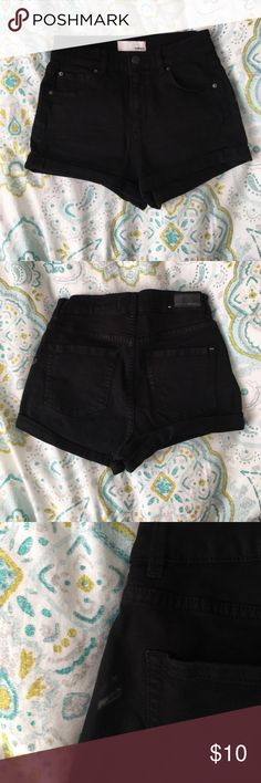 Garage black retro high waisted shorts Very comfortable and stretchy, only flaw is some faint paint splatters on the shorts. Garage Shorts Jean Shorts