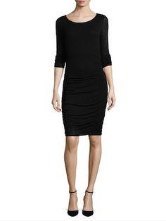 Solid Shirred Dress by Three Dots | black | Gilt
