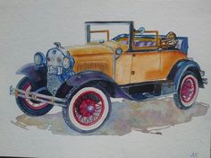 Vintage car (Painting) by Agnes Mclaughlin