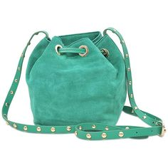 Vanessa Bruno Charly PM bucket bag ($246) ❤ liked on Polyvore featuring bags, handbags, shoulder bags, green, hand bags, bucket bags, blue purse, velvet purse and drawstring bucket bag