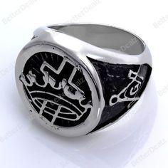 Fashion New Mens Freemason Knight Symbol Finger Ring 316L Steel Power