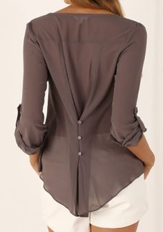 Khaki Plain Buttons Long Sleeve Casual Polyester Blouse
