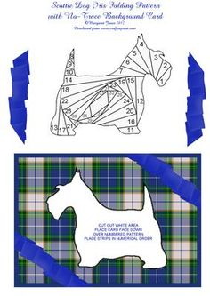 Scottie Dog Iris Folding Pattern with Blue Background  on Craftsuprint designed by Margaret Jones - A cute Scottie Dog pattern, plus a NO-TRACE background picture - just cut out the template, place the card face down over the numbered pattern and off you go with your iris folding - EASY!Card suitable for any occasion. Extra decoupage pieces for dimension. - Now available for download!