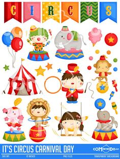It's Circus Carnival Day Clipart / Cute Big Top Digital Clip Art for Commercial and Personal Use / INSTANT DOWNLOAD