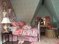 Miniature attic guest bedroom in 1:12 scale..