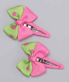 Take a look at this Lime & Pink Bow Set by Monkey Loves Bownanas on #zulily today!