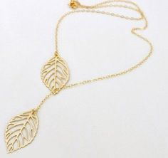 Yana Jewelry Gold And Sliver Two Leaf Pendants Necklace Chain multi layer womens statement necklaces