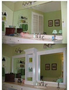 Ideas for diy bathroom mirror frame middle Large Bathroom Mirrors, Bathroom Mirror With Shelf, Bathroom Mirror Makeover, Large Bathrooms, Amazing Bathrooms, Small Bathroom, Bathroom Ideas, Bathroom Storage, Framed Mirrors