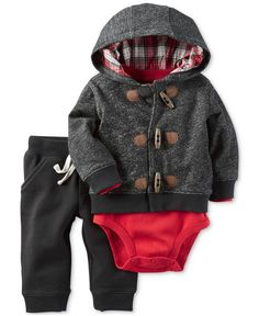 Carter's Toggle Hoodie, Bodysuit & Pants Set, Baby Boys (0-24 months)