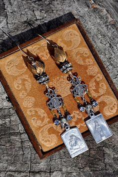 SILVER & GOLD RELIGIOUS Medal Earrings. Religious Assemblage