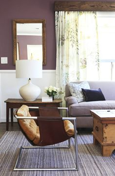 modern chairs in traditional space  nina campbell curtains  eggplant walls