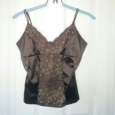 Moda International Brown corset top Great coloring and lace inset details make this a great piece.  Length is 13 inches from bottom of armpit to hem.  Straps are adjustable Moda International Tops Tank Tops