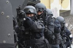 South Korean Special metropolitan police participate in an anti-terror exercise on January 21, 2015, in Seoul, South Korea.