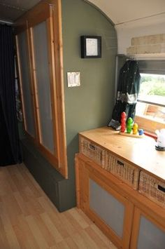 Bedroom dresser & closet, family of 5 living in a converted school bus