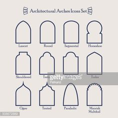 stock illustration : Set of common types of architectural arches frame icons Arch Architecture, Islamic Architecture, Morrocan Architecture, Architecture Sketches, Architecture Wallpaper, Architectural Features, Architectural Elements, Shower Tile Designs, Tadelakt