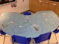 Graffiti tables to go with units or for guided reading...such a good idea just cover them with butcher paper.