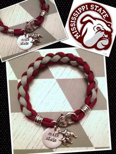 Mississippi State bracelet by BayouCordCreations on Etsy