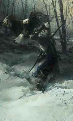 Concept art of Connor holding an eagle