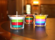 Layered Crayon Candles (Note to self:  Next time use a wick that isn't flame-resistant ;)