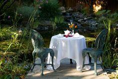 Tea on the dock by the pond...beautiful sunny days at the Galiano Oceanfront Inn and Spa  www.galianoinn.com #tea #galianoisland #gardens