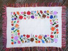 Antique  colorful Folk Hand Embroidered Hungarian Kalocsa