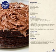 Stork Beat 'n Bake Chocolate Cake - Stork Bake Delicious Recipes - Homemade Cake Recipes, Fun Baking Recipes, Cake Mix Recipes, Sweets Recipes, Real Food Recipes, Eggless Recipes, Baking Ideas, Yummy Recipes, Best Simple Chocolate Cake