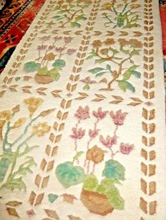 Vintage REAL WOOL KNOTTED RUG HAND Oriental kayam CHINESE CREAM ANTIQUE Floral #kayam