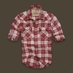 Hollister Mission Beach Plaid Shirts Red