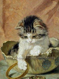 Kitten & Jewelry ~ Henriette Ronner Knip, Cats ~ Counted Cross Stitch Pattern #StoneyKnobFarmHeirlooms #CountedCrossStitch