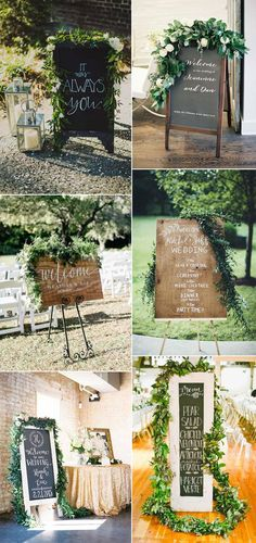 wedding signs ideas with greeenery garland decor