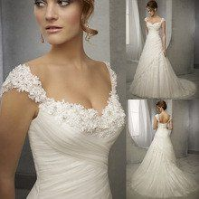 Design Vintage Wedding Dress Lace Cap Sleeve Beaded A Line Bridal Dresses Wedding Gowns Women Vestidos de Noivas 2016