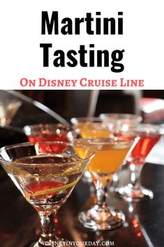 Disney Cruise Line has lots of fun activities for all ages, including their drink tastings! Find out all about the martini tasting - different martinis we tried, what we learned about the martini, and more! Disney in your Day Disney Vacation Planning, Disney World Planning, Disney Vacations, Disney Travel, Cruise Travel, Family Vacations, Cruise Vacation, Family Travel, Best Cruise
