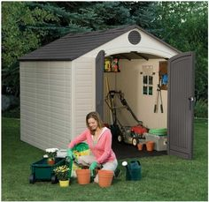 Lifetime 6405 Outdoor Storage Shed with Window, Skylights, and Shelving. Sentinel, 8 x 10 Outdoor Storage Shed, of square foot space. Lifetime Storage Sheds, Storage Shed Kits, Outdoor Storage Sheds, Outdoor Sheds, Outdoor Toys, Outdoor Spaces, Outdoor Decor, Halle, Windows