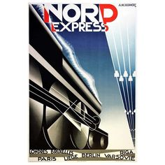 Original Art Deco Steam Train Poster for Nord Express | From a unique collection of antique and modern posters at http://www.1stdibs.com/furniture/wall-decorations/posters/