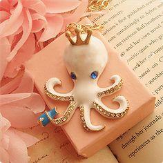 Paul Octopus White Long Necklace   。。。 $11.99 #Romwe