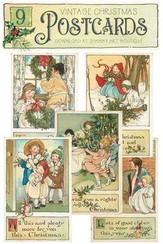 Beautiful Vintage Place Cards to Print for Christmas Christmas Sheets, Christmas Place Cards, Christmas Postcards, Christmas Poster, Christmas Clipart, Vintage Place Cards, Vintage Postcards, Handmade Christmas, Vintage Christmas