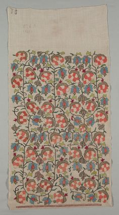 Turkey, 19th century, embroidery: silk and gold filé on linen tabby ground, Average: 101.6 x 50.8 cm (40 x 20 in). Gift of Mr. and Mrs. J. H. Wade 1916.1256